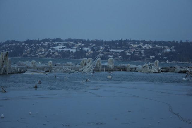 barcos helados en el muelle