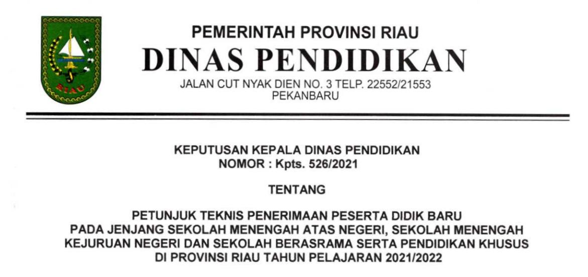 Petunjuk Teknis atau Juknis PPDB SMAN SMKN Provinsi Riau Tahun Pelajaran 2021/2022
