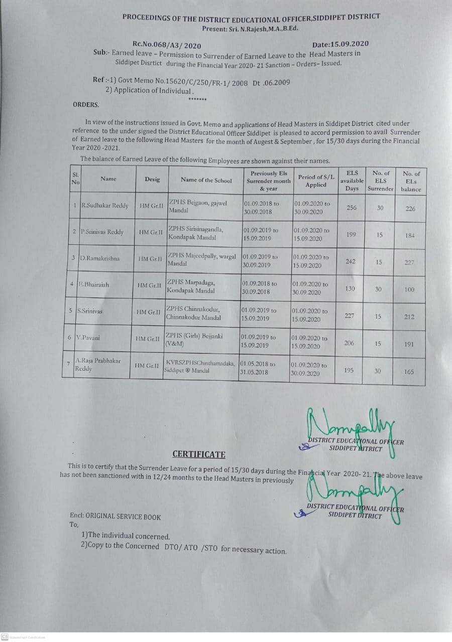 Permission to surrender of earned leave to the headmaster's in Siddipet district during the financial year 2020_21 Rc.No.068 / A3 / 2020 Date : 15.09.2020