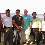 Andy (extreme left) and Frank (middle) pose with district officials from the Assemblies of God of Yucatán.