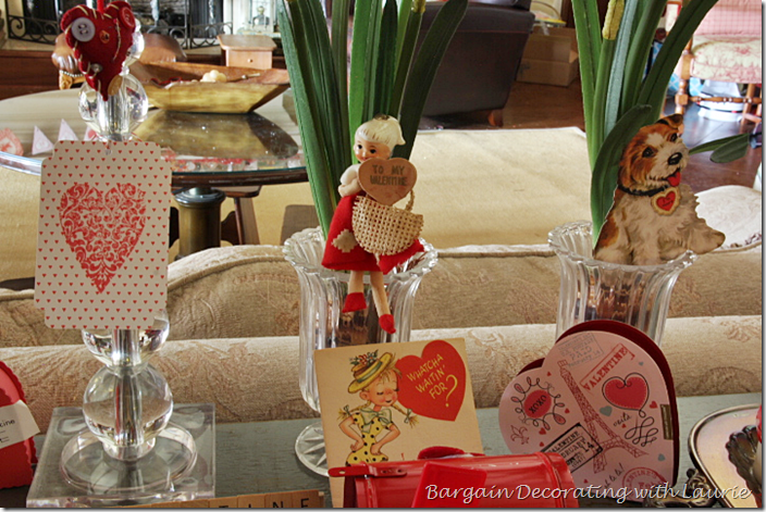 Valentines displayed in vases