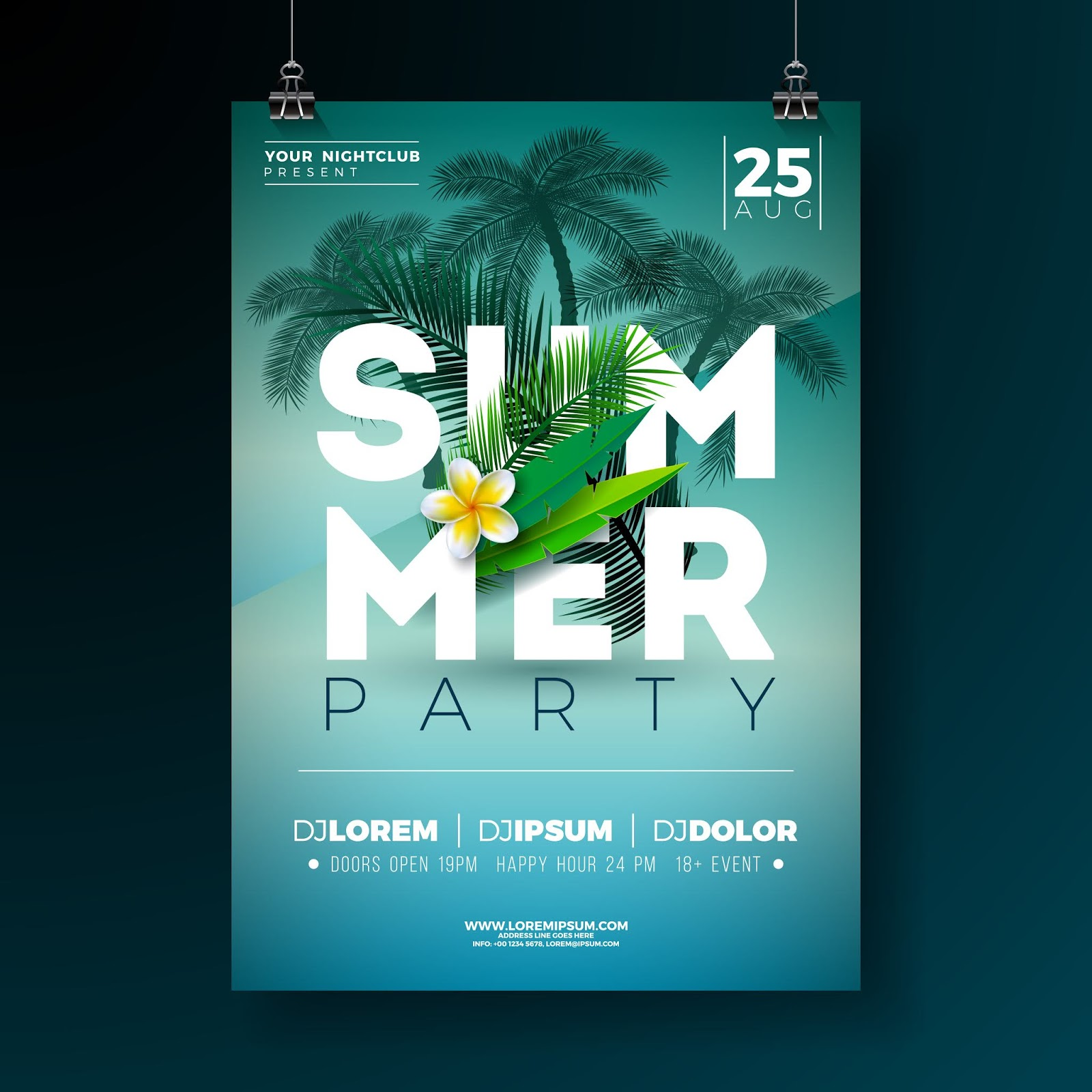 Vector Summer Party Flyer Design Free Download Vector CDR, AI, EPS and PNG Formats