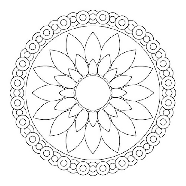 Download Simple Flower Mandala Coloring Pages Or Print Simple