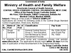 CDSCO Drug Sampler Advertisement indialjobs