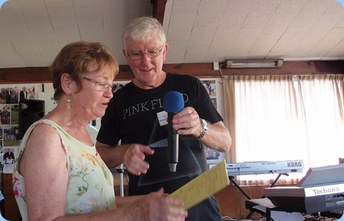 Diane Lyons and Gordon Sutherland going through the evenings programme. Diane kindly compared to help Gordon control the PA and Video recording systems. Photo courtesy of Dennis Lyons.