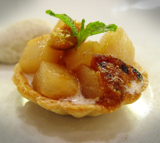 Poached Fruits in Almond Tart Shell