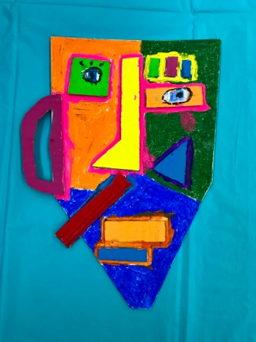 6c2fa171d Discuss Pablo Picasso Recycled Materials - Earth Day Sketch out your ideas.  Draw the facial features. Cut them out. Add color and details. Glue them  down