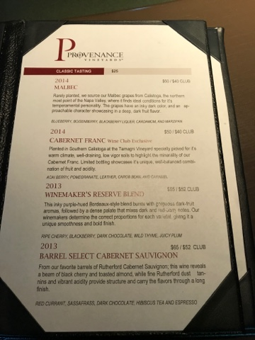 Provenance Vineyards Classic Tasting Menu