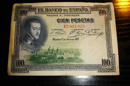Billete cien pesetas Felipe II año
