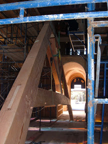 The church was largely constructed when we installed the trusses.  These were some tight working conditions.