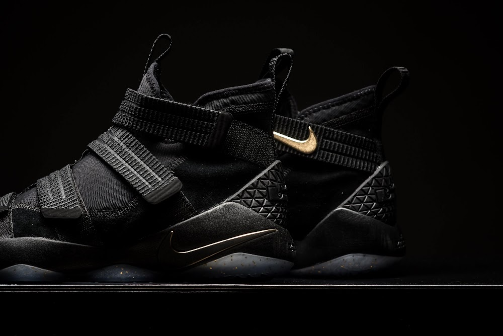 online store 9ed68 e6dd4 ... Detailed Look at Nike LeBron Soldier 11 Black and Gold ...