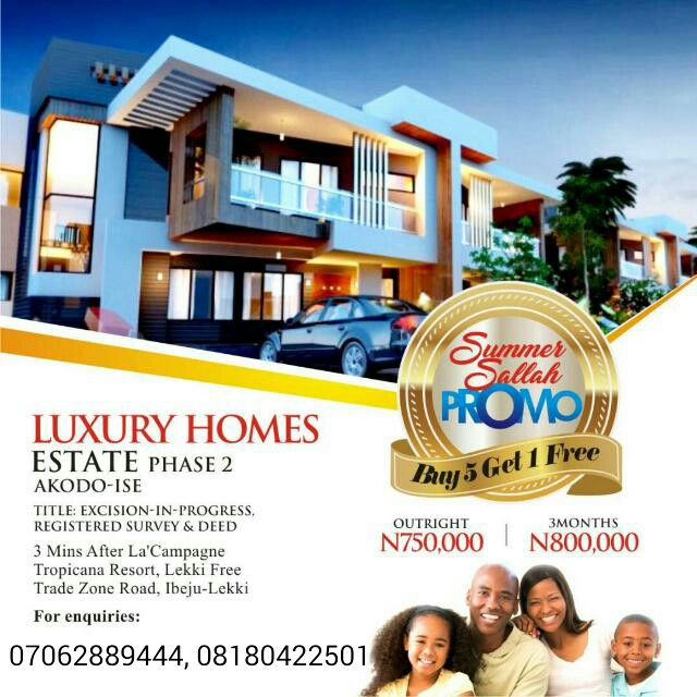 LUXURY HOMES ESTATE PHASE 2, IBEJULEKKI, LAGOS(LAND FOR SALE)