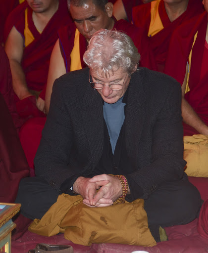 Richard Gere at the long life puja for Lama Zopa Rinpoche, Bodh Gaya, India, January 2012.