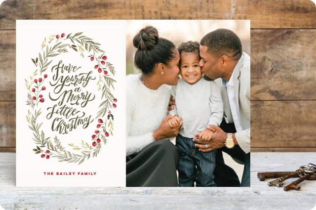 minted winter wildflowers christmas card