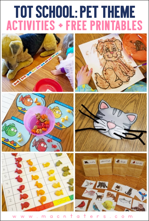 Pet Theme Tot School Activities and Free Printables
