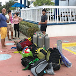 the gear after the first day at the pool in Key Largo, Florida, United States