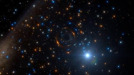 ilustração de sistema binário com um buraco negro