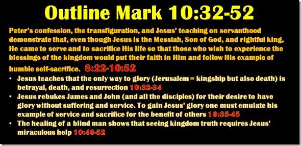 Mark 10.32-52 outline