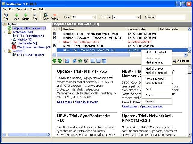 برنامج قراءة خلاصات المواقع والأخبار الفيدز RssReader 1.0.88.0