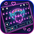 Neon Rainbow Heart Keyboard Background
