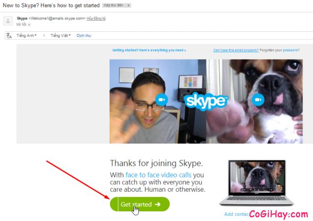 Xác thực email đăng ký Skype
