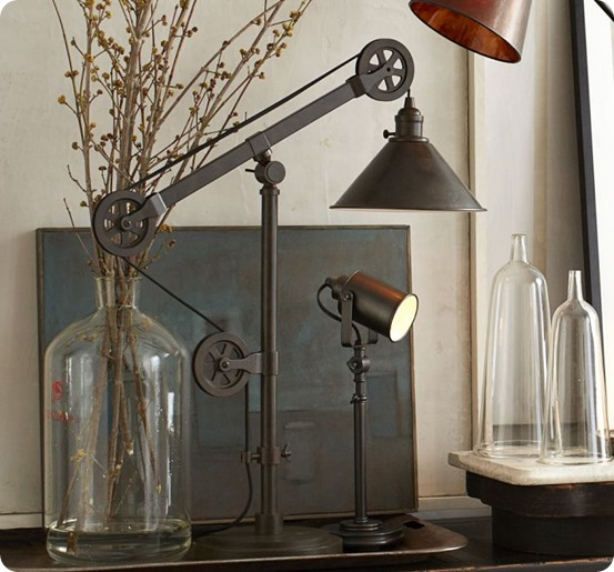 Industrial zinc pulley floor lamp pottery barn knockoff the kim warren pulley task floor lamp solutioingenieria