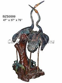 Bronze, Crane, Heron, Pair, Standing, Statue