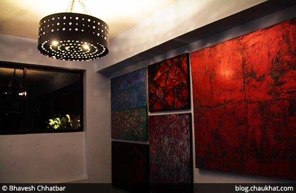 Paintings in corridor at Dezio, Kalyani Nagar, Pune
