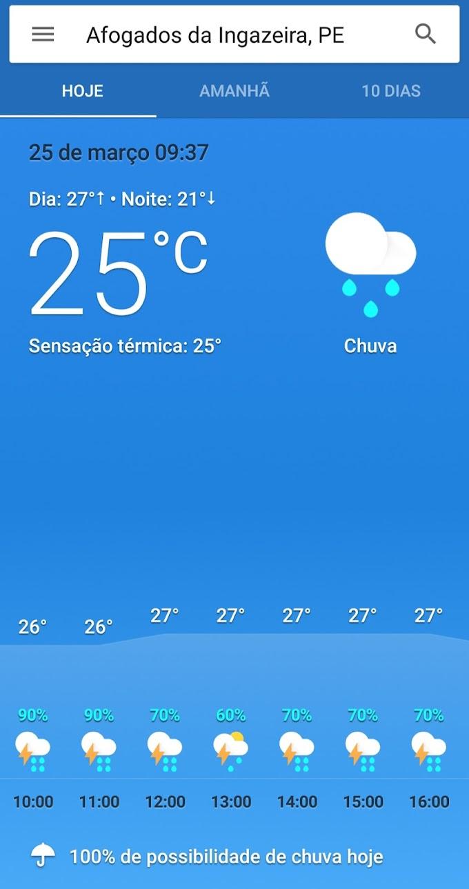 Afogados tem previsão de mais chuvas para esta quarta-feira (25)