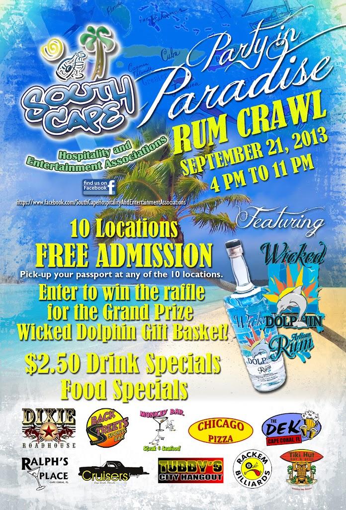SCHEA Paradise Rum Crawl Flyer 4x6