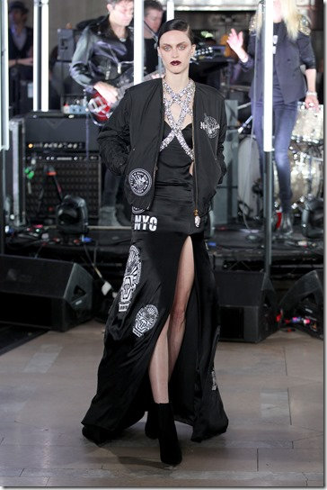 NEW YORK, NY - FEBRUARY 13:  A model walks the runway wearing look # 77 for the Philipp Plein Fall/Winter 2017/2018 Women's And Men's Fashion Show at The New York Public Library on February 13, 2017 in New York City.  (Photo by Thomas Concordia/Getty Images for Philipp Plein)