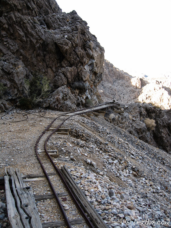 Track remains on top of the waste rock below the main orebin.