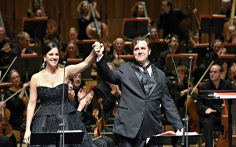 IN PERFORMANCE: Soprano JOYCE EL-KHOURY as Pauline (left) and tenor MICHAEL SPYRES as Polyeucte (right) in Opera Rara's concert performance of Gaetano Donizetti's LES MARTYRS at Royal Festival Hall, 4 November 2014 [Photo © by Russell Duncan]