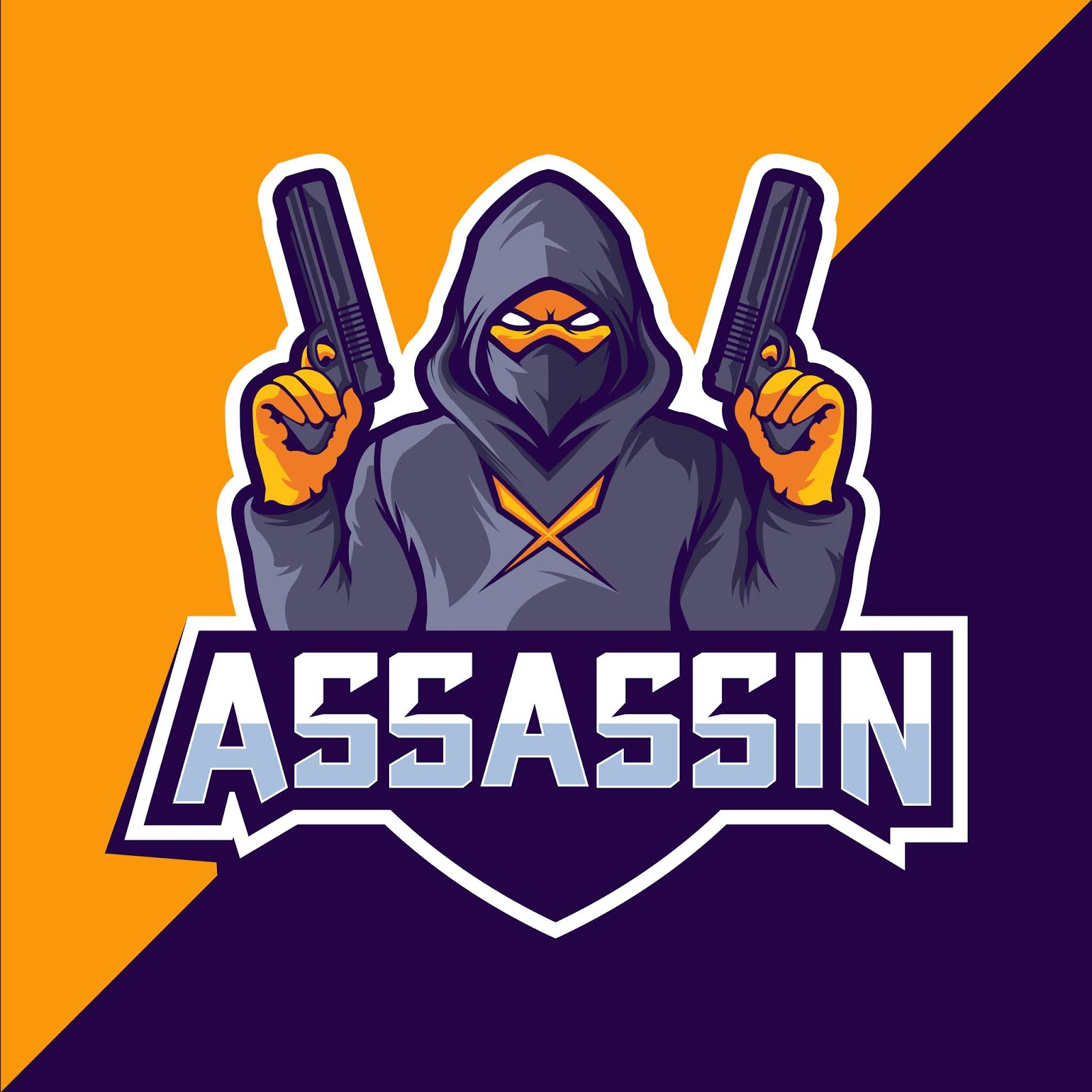 Assassin With Guns Mascot Esport Logo Free Download Vector CDR, AI, EPS and PNG Formats
