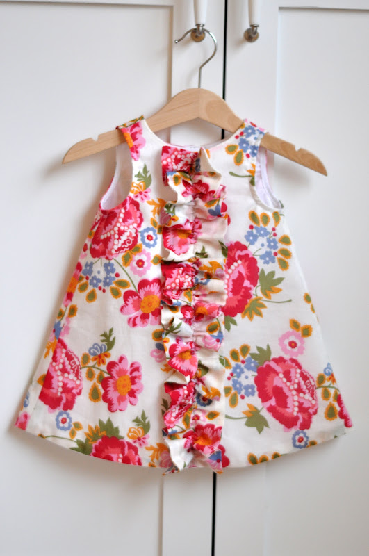 e118b681e607 I was working on a pattern design for Tess' first Easter dress, an a-line  chemise with a ruffle down the front and short ...