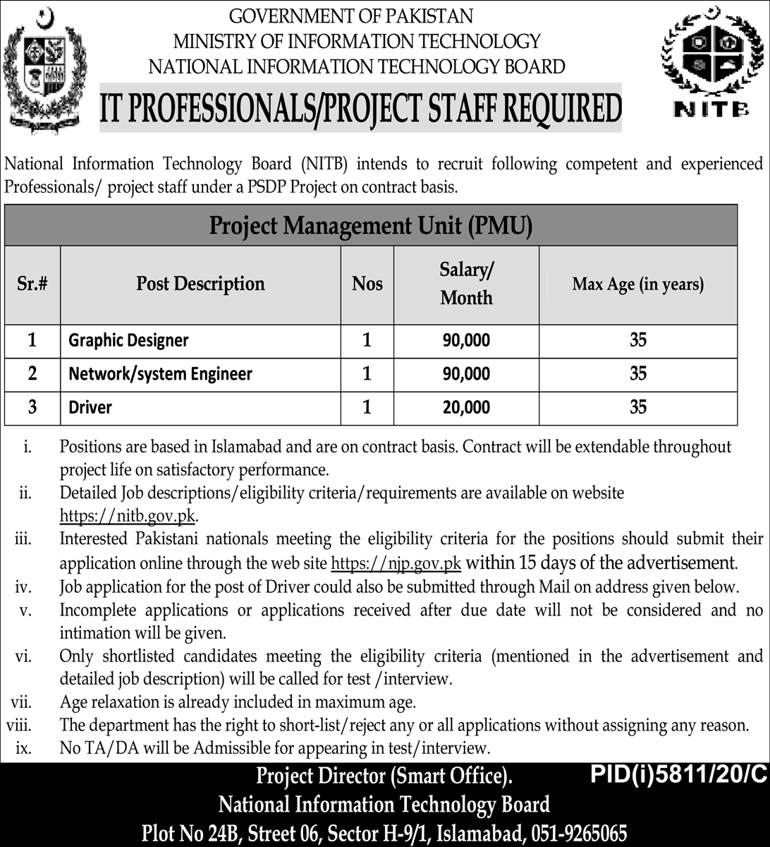 Ministry of Information Technology Jobs 2021 National Information Technology Board