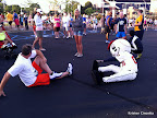 Pre-race stretches with Homer, the Braves' mascot!