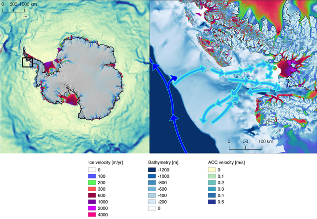 Left, location of Marguerite Bay in Antarctica (box) and deep currents around the continent, with darker colors showing faster water. Right, ice velocities, ocean depth and currents in the bay. Photo: NASA / JPL-Caltech