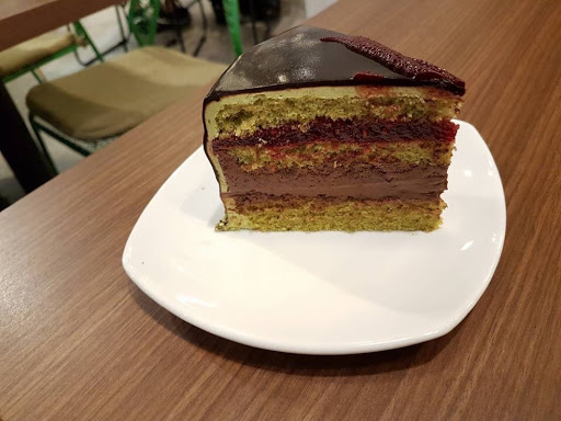 Pistachio chocolate cake from Cedele