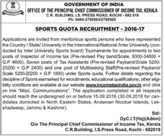 Income Tax India Sports Quota Recruitment 2016-17 www.indgovtjobs.in