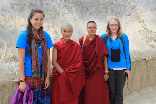 Members of Healthy Body, Healthy Mind book distribution team in Zanskar, India, June 2012: (from left) Zia Mars, Vens. Namdrol and Saldon,  and Sarah Dover. Photo by Marlies Bosch.