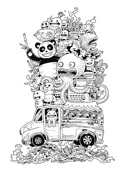 Galerie De Coloriages Gratuits Coloriagedoodledoodling Drles De  Personnages Sur  Doodleartcoloring Bookscars