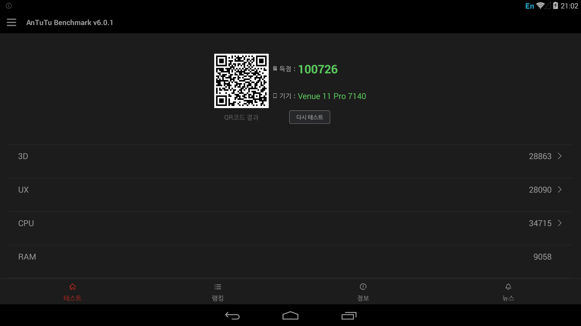 Antutu result of Android-x86 on DELL Venue 7140 Pro