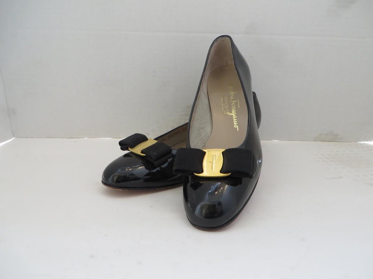 Salvatore Ferragamo Patent Bowtie Heels