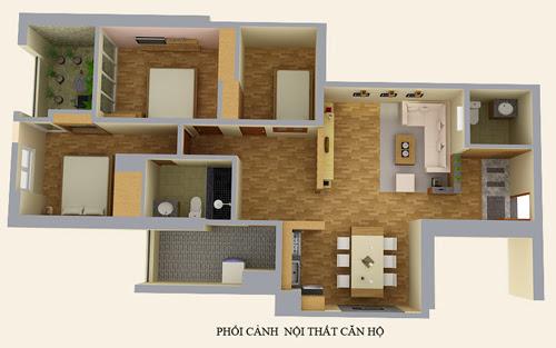 Phối cảnh nội thất căn hộ chung cư số 1