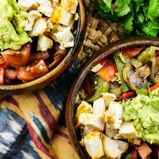 Rotisserie Chicken Fajita Bowls with Cilantro Lime Quinoa.