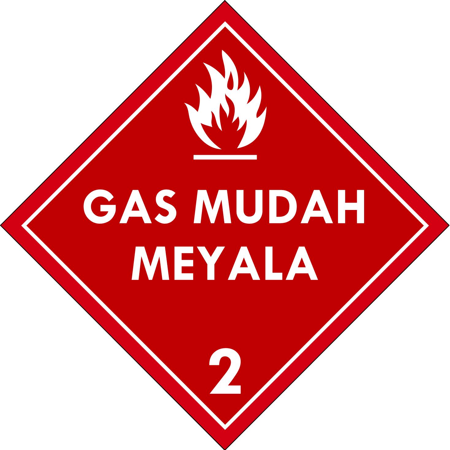 Label (Simbol) Transportasi Bahan (Material) Gas Mudah Menyala (Terbakar) 2.1
