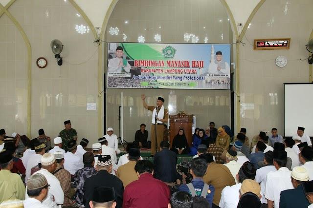 Bupati Agung Hadiri acara Manasik di Islamic Center kotabumi