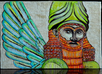 Sumerian Anunnaki Flying Gods face of God green red Beard