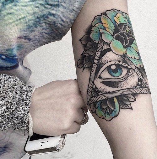 floral_olho_braço_de_tatuagem